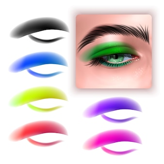 Set of colorful eyeshadows and realistic eye