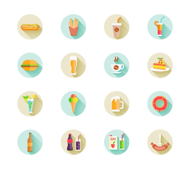 Set of colorful fast food icons on web buttons with various beverages and food including hamburger