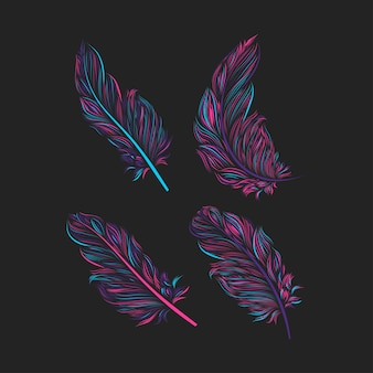 Set of colorful feather illustration