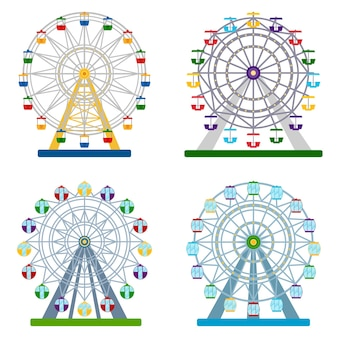 Set of colorful ferris wheels on white background, vector illustration