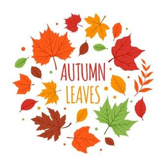 Set of colorful flat autumn/fall leaves