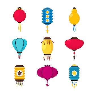 Set of colorful flat paper street chinese lanterns. holiday decorative design element. china festive decor