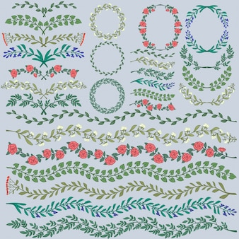Set of colorful floral decorations