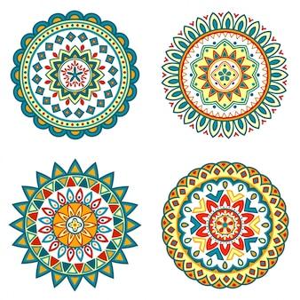 Set of colorful floral mandalas