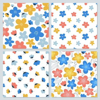 Set of colorful floral seamless patterns for printing onto fabric, wrapping paper, covers, etc.