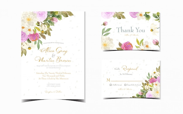 Set of colorful floral wedding invitation with gorgeous flowers