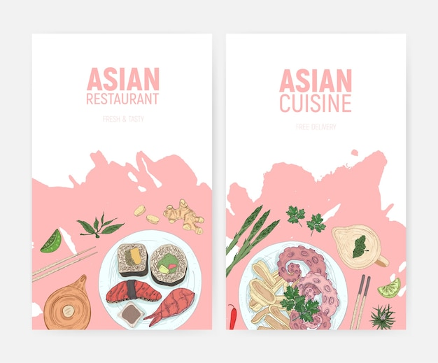 Set of colorful flyer templates with sushi and seafood meals lying on plates hand drawn on white space