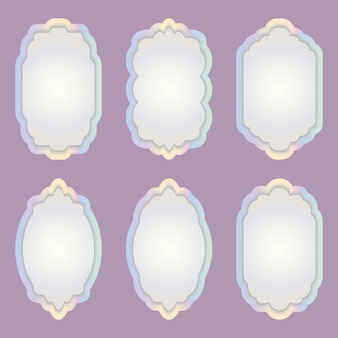 Set of colorful frames of different shapes.