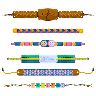 Set colorful friendship bands