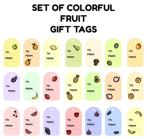 Set of colorful fruit gift tags