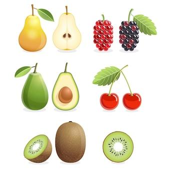 Set of colorful fruit icons isolated on white