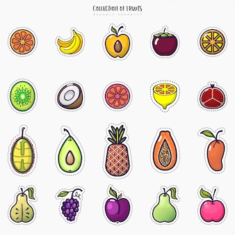 Set of colorful fruit icons isolated