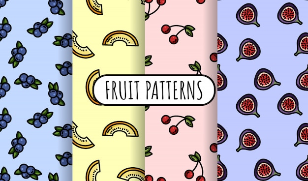 Set of colorful fruit seamless patterns.