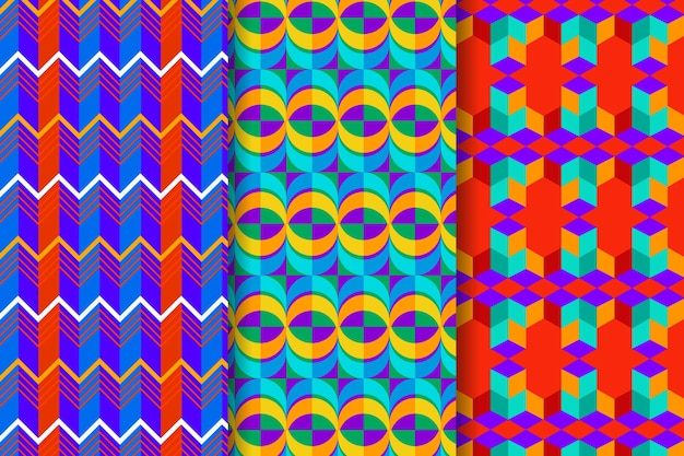 Set of colorful geometric drawn patterns