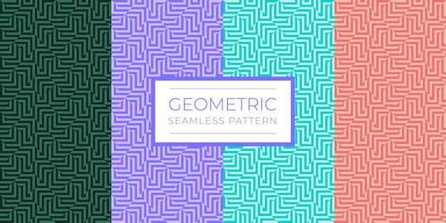 Set of colorful geometric seamless pattern with repeating strips. abstract texture with optical effect for wallpapers, textile, fabric, wrapping paper, backgrounds. vector illustration. eps 10