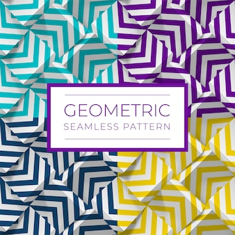 Set of colorful geometric seamless patterns.