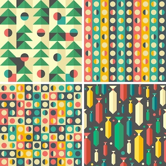 Set of colorful geometric seamless patterns.