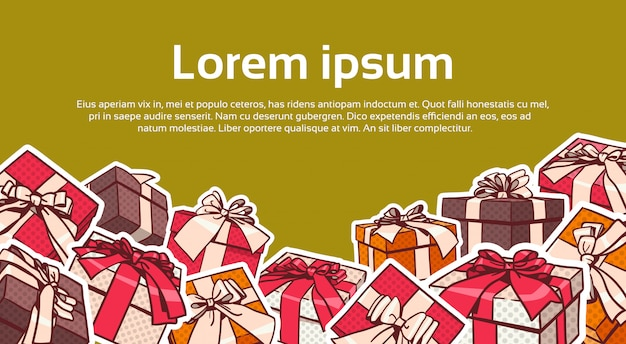 Set of colorful gift box pop art retro style of presents with ribbon and bow on background with copy