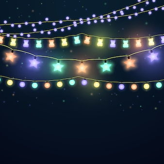 Set of colorful glowing light garlands