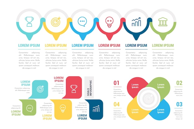 Set of colorful goals infographics