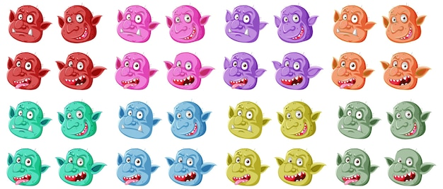 Set of colorful goblin or troll face in different expressions in cartoon style isolated
