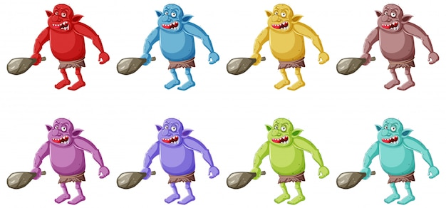 Set of colorful goblin or troll holding hunting tool in cartoon character isolated