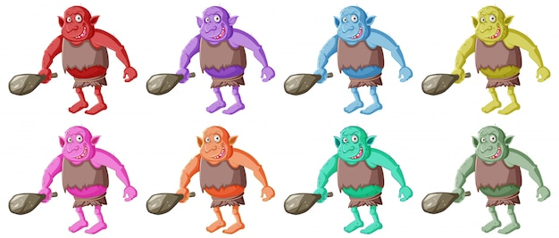 Set of colorful goblin or troll holding hunting tool with smail face in cartoon character isolated