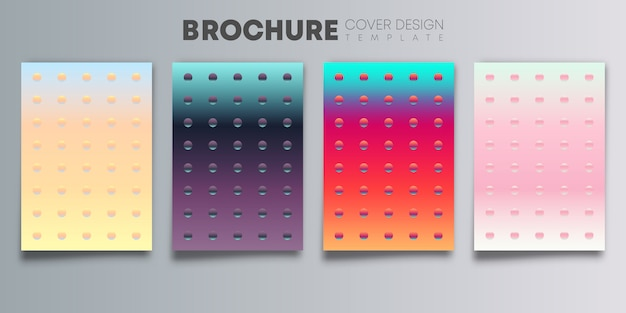Set of colorful gradient cover with color dots