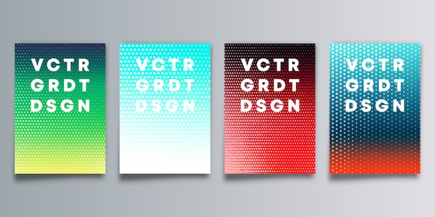 Set of colorful gradient cover with halftone pattern