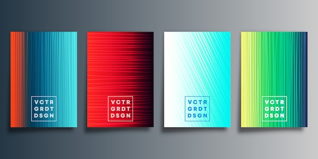 Set of colorful gradient cover with line design