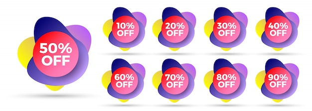 Set of colorful gradient sale tags with discounts . liquid shapes with shadows.  illustration.