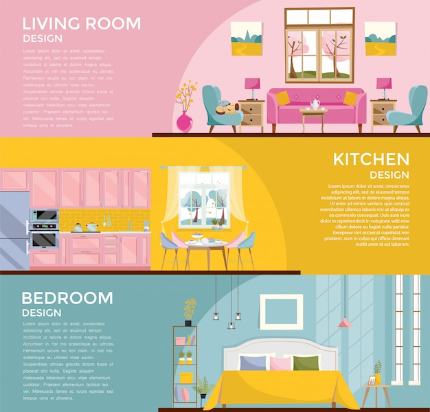Set of colorful graphic room interiors living rooms with sofa, window, armchair, bedroom with bed kitchen, dining room. 3 banners with furniture for rooms of house. flat cartoon  illustration