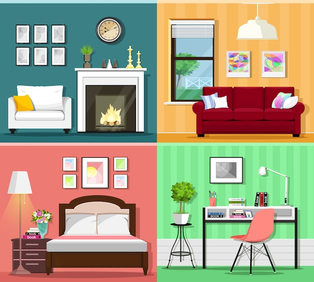 Set of colorful graphic room interiors with furniture icons: