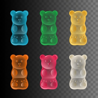 Set of colorful gummy bears