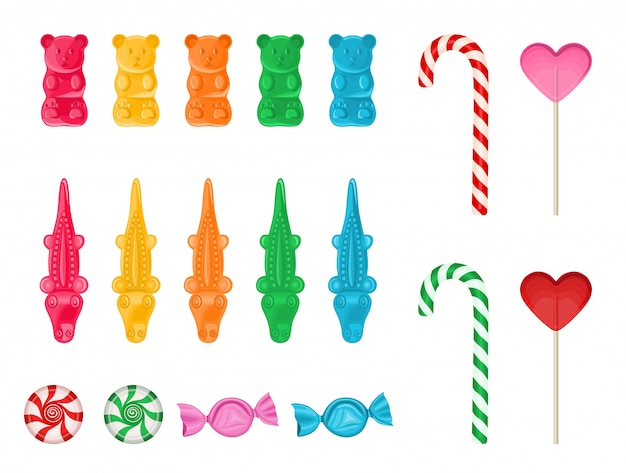 Set colorful gummy candies, peppermint candies, candy canes and lollipops