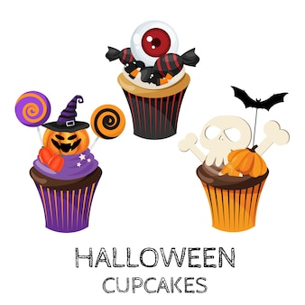 Set of colorful halloween cupcakes and candy.
