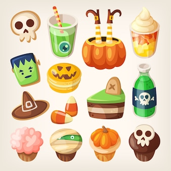 Set of colorful halloween party snacks and treats for children. sweets, cakes, muffins and cookies.