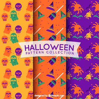 Set of colorful halloween patterns in flat design