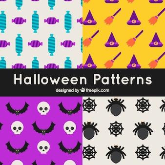 Set di modelli di halloween colorati in design piatto