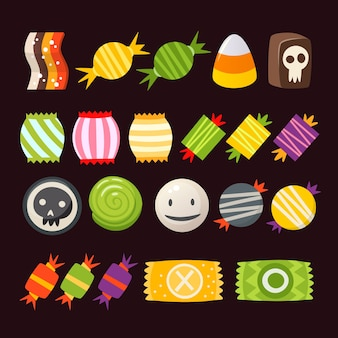 Set of colorful halloween sweets for children. vector candies decorated with halloween elements.