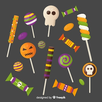 Set of colorful halloween sweets for children