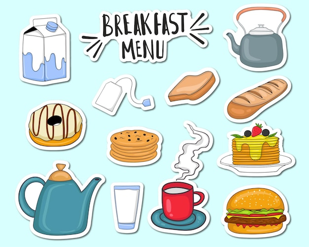 Set of colorful hand drawn breakfast menu elements
