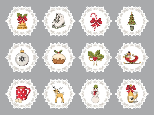 Set of colorful hand drawn christmas stickers. traditional winter elements.