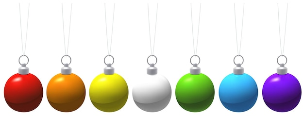 Set of colorful hanging christmas baubles