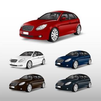 Set of colorful hatchback car vectors