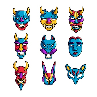 Set of colorful holiday mask with horns and scary emoji