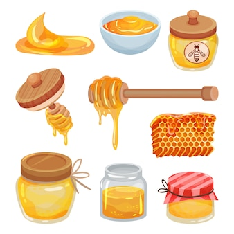Set of colorful honey icons. organic and healthy product. natural sticky liquid. sweet food