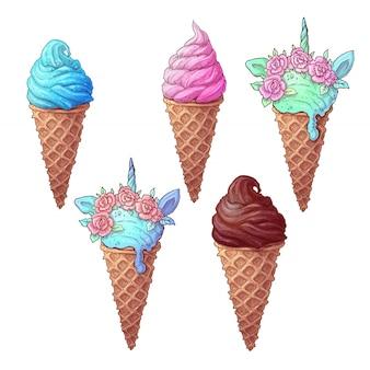 Set colorful ice cream unicorn
