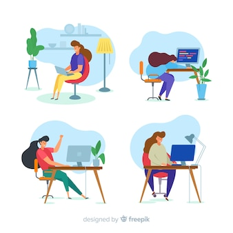 Set of colorful illustrated programmers working