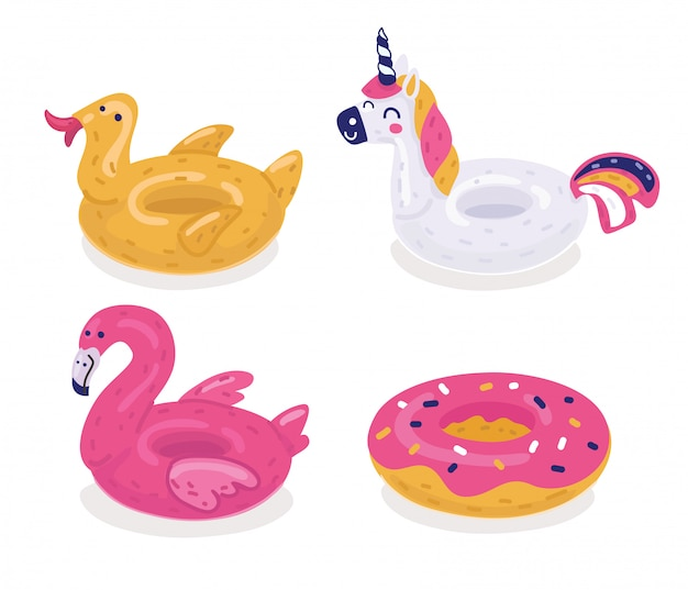 A set of colorful inflatable lifebuoys. duck,flamingo, unicorn, donut